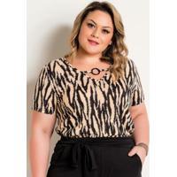Blusa Zebra Plus Size Com Decote Decorativo