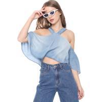 Blusa Jeans Cropped Oh, Boy! Ciganinha Azul