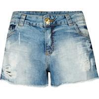 Shorts Jeans Amassado Com Rasgos Canellado