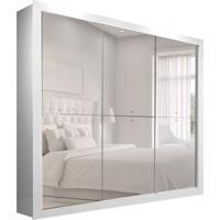 Guarda-Roupa Casal Com Espelho Mônaco 3 Pt Branco