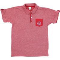 Camisa Lápis De Cor Polo Com Bolso Vermelho