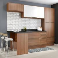 Cozinha Compacta Calábria Paneleiro, Bancada E Balcão 3 Gavetas Nogueira/Branco