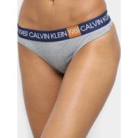 Calcinha Calvin Klein Fio Dental Cotton 1981 - Feminino-Mescla