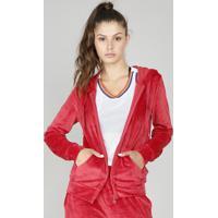 Blusão Feminino Esportivo Ace Em Plush Com Capuz Vermelho
