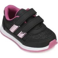Tênis Slink Gliter Infantil Feminino - Feminino-Preto+Pink