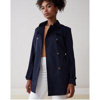 Amaro Feminino Trench Coat London Breeze, Azul Marinho