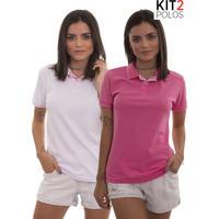 Kit 2 Polos Femininas Lagoon Tigs - Rosa Pink E Rosa Claro-Gg