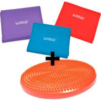 Kit Disco De Equilibrio Inflavel + 3 Faixas Elasticas Tensao Forte, Media E Leve - Liveup - Unissex