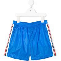 Moncler Kids Shorts De Banho Com Lista Lateral E Bolso - Azul
