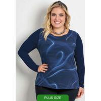 Blusa Com Estampa E Decote Redondo Azul