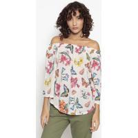Blusa Ciganinha Floral Com Linho- Bege & Rosa- Benetbenetton