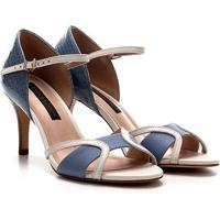 Sandália Couro Jorge Bischoff Floater Feminina - Feminino-Azul Claro