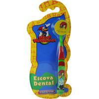 Escova Dental Infantil Frescor Pica Pau 2-5 Anos Com Capa Protetora