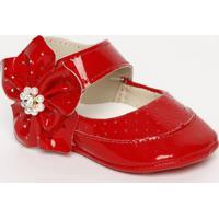Sapato Boneca Com Microfuros & Flor - Vermelho- Ticctico Baby