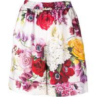 Dolce & Gabbana Floral Print Shorts - Branco