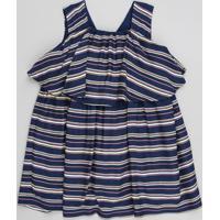 Vestido Infantil Listrado Com Sobreposição Sem Manga Azul Marinho