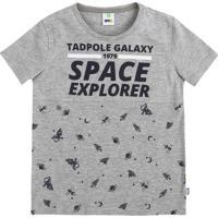 "Camiseta ""Space Explorer""- Cinza & Azul Marinho- Kidpuc"