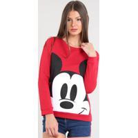 Blusão Feminino Mickey Em Moletom Vermelho