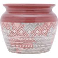 Vaso Em Cerã¢Mica ÉTnico- Rosa Escuro & Branco- 13,5Xurban