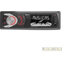 Auto Rádio Mp3 Player - Quatro Rodas - Usb Frontal/Entrada Auxiliar/Sd/Led Multicolor - Cada (Unidade) - Mtc6608