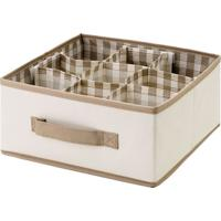Caixa Organizadora Alã§A- Bege & Marrom- 13X27Cm-Bem Fixa