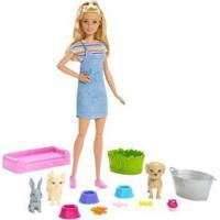 Boneca Barbie Banho De Cachorrinhos Com Acessórios Mattel - Feminino-Rosa