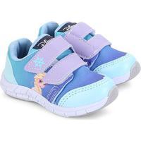 Tênis Infantil Disney Velcro Frozen Feminino - Feminino-Azul Claro
