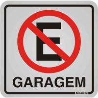 Placa De Alumínio Garagem Proibido Estacionar Preto E Vermelho Sinalize