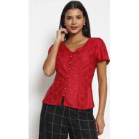 Blusa Com Botões- Vermelha- Vip Reservavip Reserva