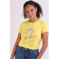 Blusa Feminina Bela Manga Curta Decote Redondo Amarela