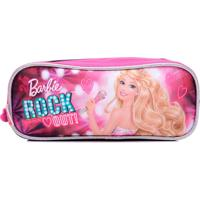 Estojo Infantil Sestini 3 Compartimentos Rock N Royals Rosa Barbie