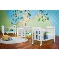 Dormitório Ariel Guarda Roupa 4 Portas/Cômoda Ariel 4 Gavetas/Berço Lila Branco Carolina Baby