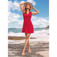 Vestido Evasê Vermelho Com Decote Profundo