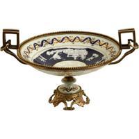 Fruteira Decorativa De Porcelana Com Bronze