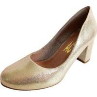 Scarpin Salto Baixo Grosso Bico Redondo Metalizado Feminino - Feminino-Dourado