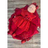 Saída De Maternidade Vermelha Pérolas