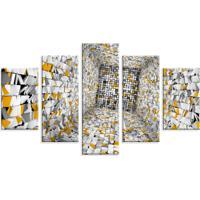 Conjunto De 5 Telas Decorativas Love Decor Em Canvas 90X160 Asbtrato Post-It Multicolorido