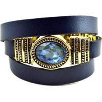 Pulseira Armazem Rr Bijoux Pedra Feminina - Feminino-Azul Escuro