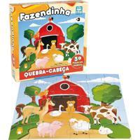 Quebra Cabeça Em Madeira Nig Brinquedos Fazendinha 30 Peças Multicolorido