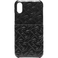 Burberry Embossed Tb Logo Leather Iphone X Css Case - Preto