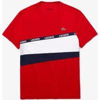 Camiseta Lacoste Sport Masculina - Masculino-Vermelho+Branco