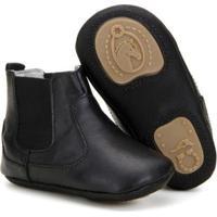 Bota Texana Infantil Baby Capelli Boots Em Couro Com Fechamento Em Elástico - Masculino-Preto