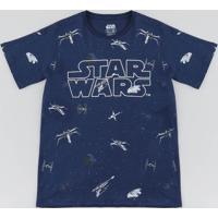 Camiseta Juvenil Star Wars Estampada Manga Curta Gola Careca Azul Marinho