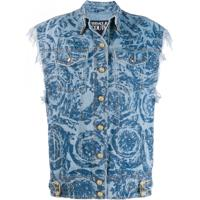 Versace Jeans Couture Colete Jeans Floral - Azul