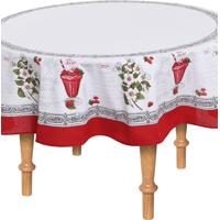 Toalha De Mesa Karsten Redonda Cada Dia Morgan 160Cm Branca/Vermelha