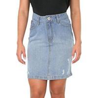 Saia Bloom Jeans Lapis Destroyed Feminina - Feminino-Azul