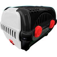 Caixa De Transporte Para Pets Luxo 40X36,5Cm Preta E Vermelha