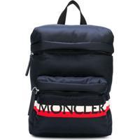 Moncler Kids Mochila Com Logo - Azul