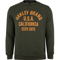 Blusão De Moletom Oakley Athletic Crew - Masculino - Verde Escuro