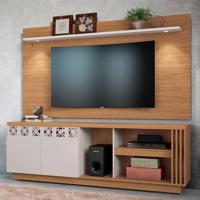 Rack Com Painel Para Tv Até 65 Polegadas Astúrias Marrom E Off White 200 Cm